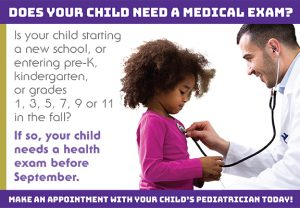 Child getting examined by a doctor