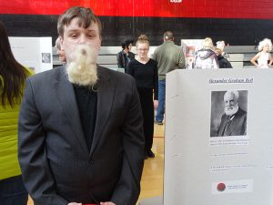 Student dressed as Alexander Graham Bell