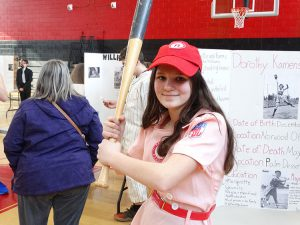 Student dressed as baseball player