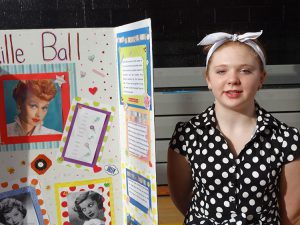 Student dressed as Lucy Ball