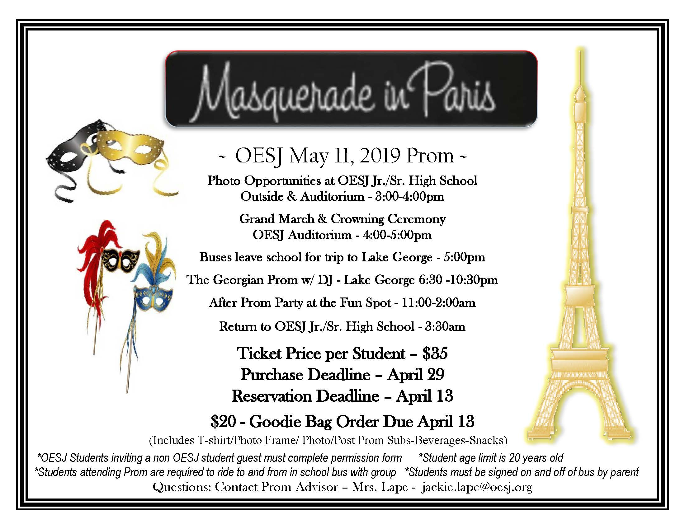 Flyer about the prom at OESJ