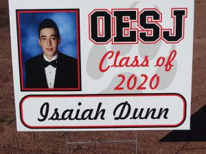 Sign with a student picture Isaiah