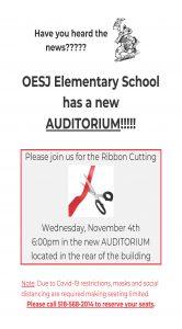 OESJ auditorium ribbon cutting flyer