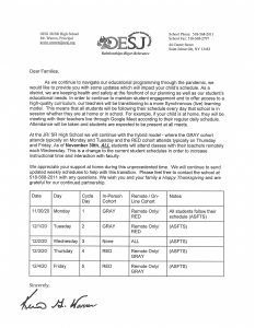 Letter from Jr/Sr High School Principal Kevin Warren